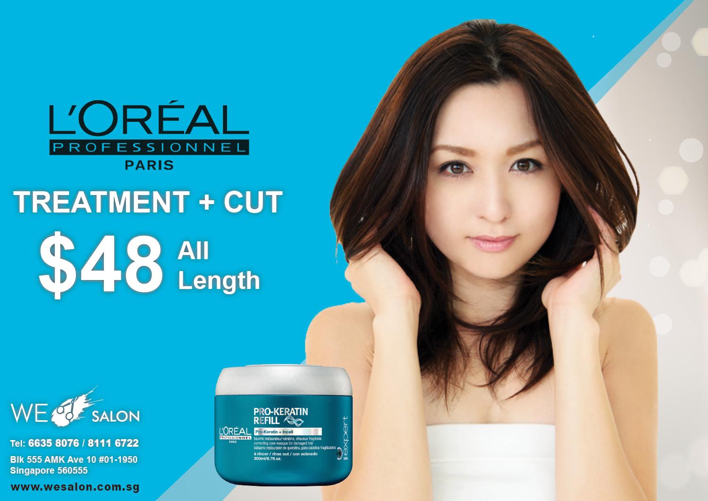 L'Oreal Hair Treatment + Haircut = $48 (All Hair Length)